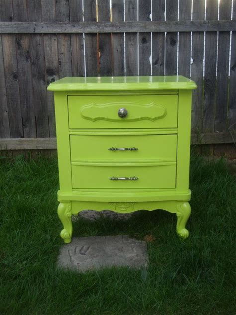 Green Nightstand Table by Lime Green Stand Side Table Refurbished By