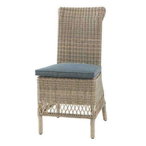 chaise grise tissu chaise de jardin coussin en résine tressée et tissu