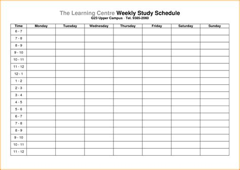 study schedule template memo templates