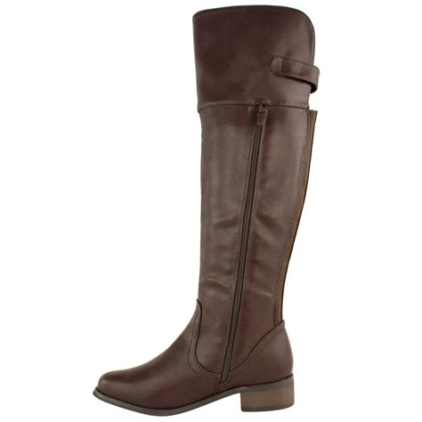 ladies womens flat knee high stretch wide riding boots leg
