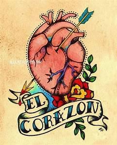 Old School Tattoo Heart EL CORAZON Loteria Print 5 x 7 8 x 10