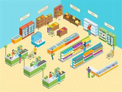 Supermarket Merchandising Grocery Visual Interior Illustration Furniture