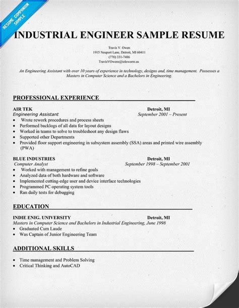resume objective example engineering industrial engineer sample resume resumecompanion com