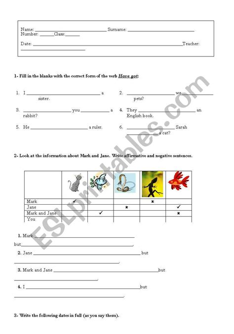english worksheets worksheet about the verb to have got