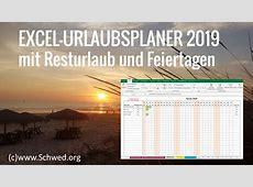 Kostenloser ExcelUrlaubsplaner 2019 mit Resturlaub und