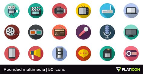 rounded multimedia   icons svg eps psd png files