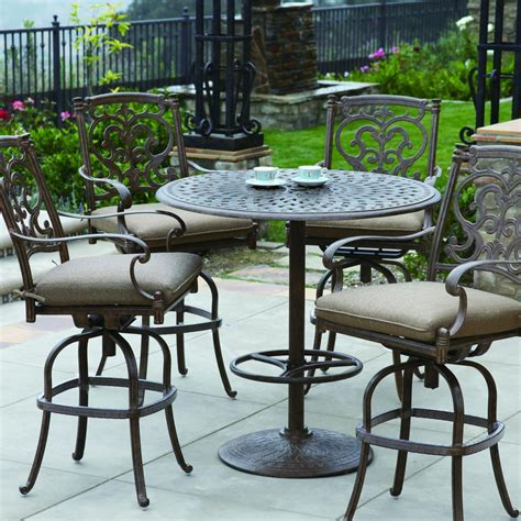 darlee santa barbara 5 cast aluminum patio bar set