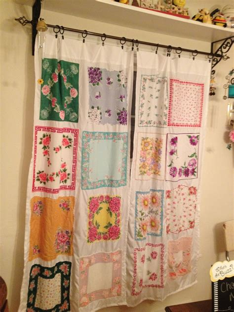 curtains   vintage handkerchief decorations