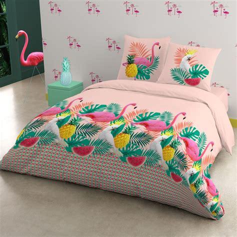 parure lit flamingo polycoton flamingo parure de lit