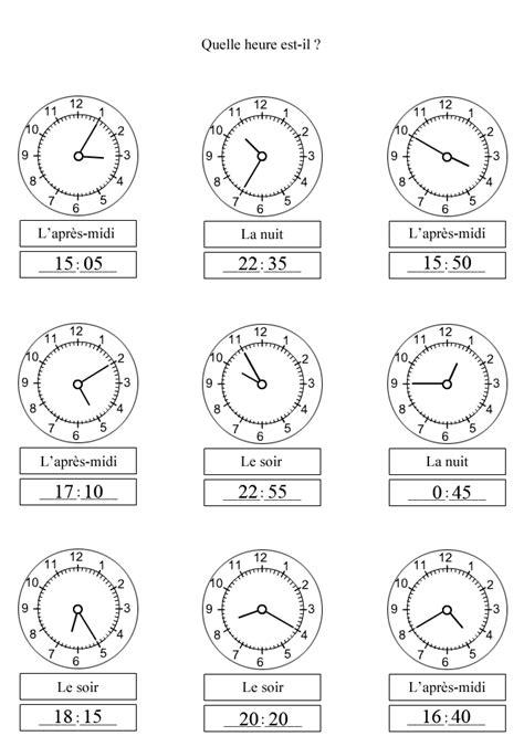 Modification De L Heure by Exercices 224 Imprimer Pour Apprendre 224 Lire Les Minutes