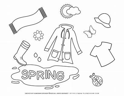 Coloring Season Spring Pages Clothes Planerium Seasons