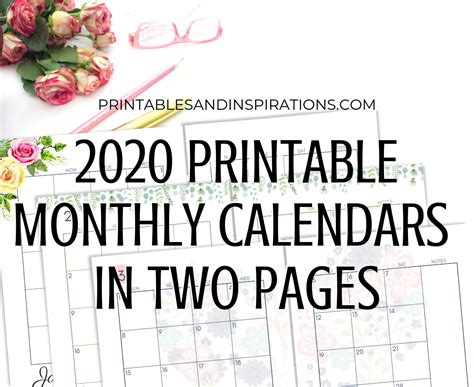 monthly calendar page spread printable printables