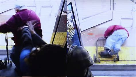 Elderly Woman Pushes Man Off Bus