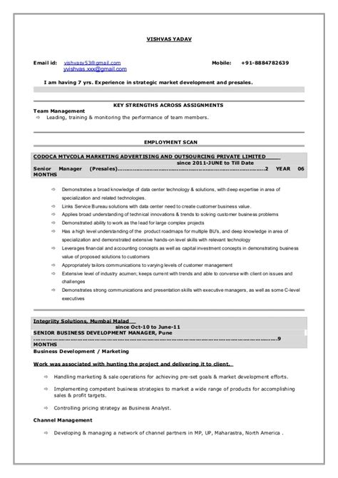 Pre Sales Consultant Resume Template by Resume Presales 7yrs Exp Vishvasyadav