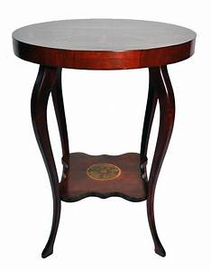 Empire, Art, Nouveau, Style, Mahogany, Round, Side, Table, Gold, Painted, Acanthus, Leaves