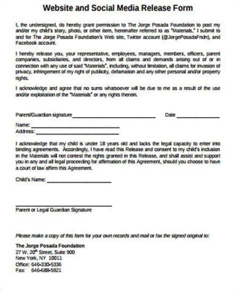 social media photo release form template media consent release