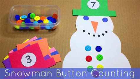 snowman button counting math and motor activity for 431 | maxresdefault