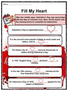 valentines day facts worksheets origin history