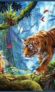 Tigers on Tree - family, cubs, artwork, painting, parrot ...