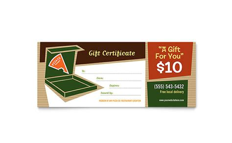 pizza pizzeria restaurant gift certificate template word