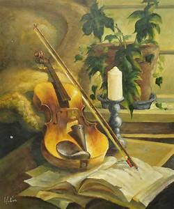 Oil Painting of Still Life Candle on Stand Violin on Book ...