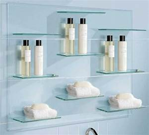 Floating glass shelves for bathroom floating glass for Beautiful floating glass shelves ideas