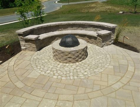 patio space  firepit seating wall steps landscaping