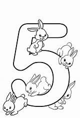 Coloring Birthday 5th Sheet Drawing English Rabbits sketch template