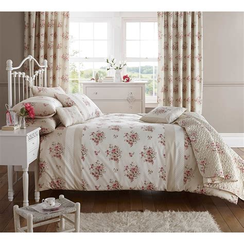 Shabby Cottage Floral Chic Bedding Beige Cream Rose