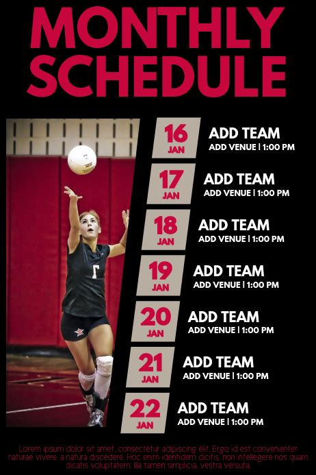 copy  volleyball schedule template postermywall