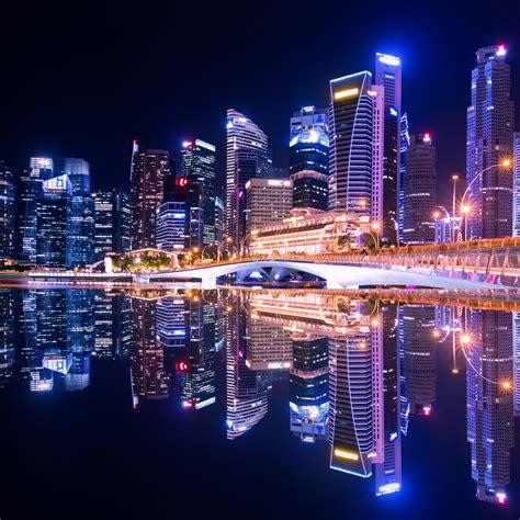 wallpaper city lights nightscape reflections skyline