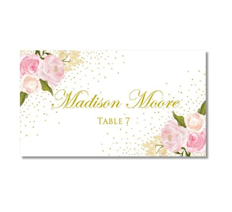 printable wedding place cards romantic floral gold