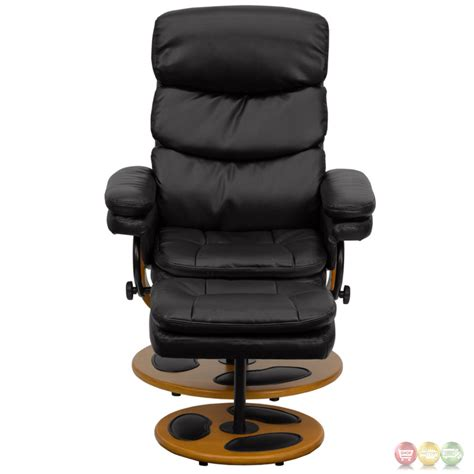 Contemporary Leather Recliner And Ottoman by Contemporary Black Leather Recliner And Ottoman With Wood Base