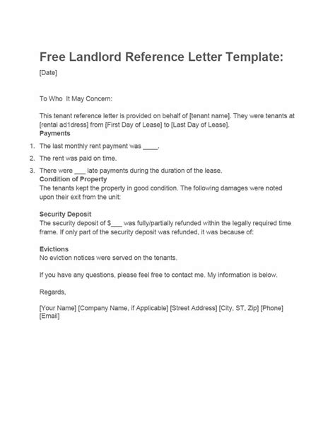 landlord letter to tenant 40 landlord reference letters form sles template lab