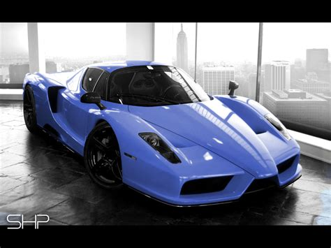 Ferrari roadster light blue cars metallic auto automobile. Sports Cars: Blue Enzo ferrari