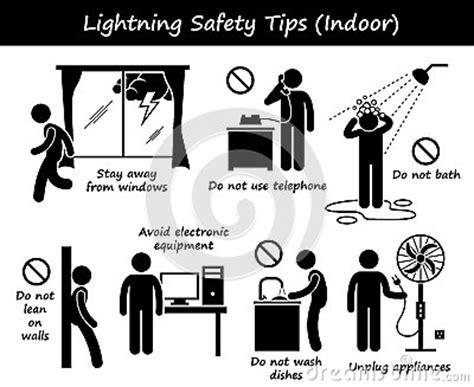 lightning thunder indoor safety tips clipart stock vector