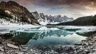 Winter Mountains Lake Clear Cold Reflection 4k