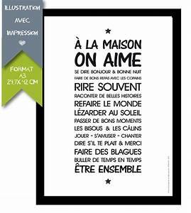 Affiche Les Regles De La Maison : affiche imprim e a3 r gle de vie 39 a la maison 39 affiches illustrations posters par ~ Melissatoandfro.com Idées de Décoration