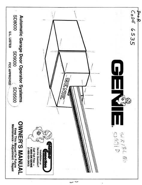 Genie Model 450 Wiring Diagram by Genie Garage Door Opener Sd8000 User Guide Manualsonline