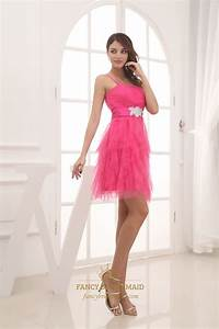 Hot Pink Short Bridesmaid Dress, Short Spaghetti Strap ...