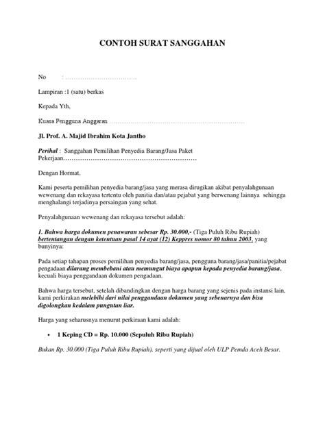 contoh surat sanggahan banding lelang surat