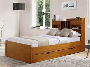 Lit Bois Massif Ikea : lit mederick avec rangements 140x190 pin massif ~ Teatrodelosmanantiales.com Idées de Décoration