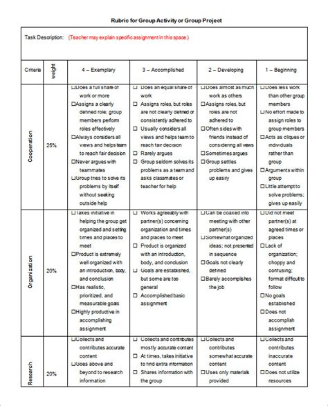 grading rubric template rubric template 47 free word excel pdf format free premium templates