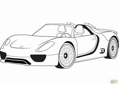 Coloring Porsche 918 Spyder Concept Printable Drawing