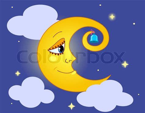 Moon In The Sky. Cartoon Vector Illustration.