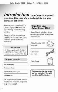 Bt Caller Display 1000 User Manual From Telephones Online