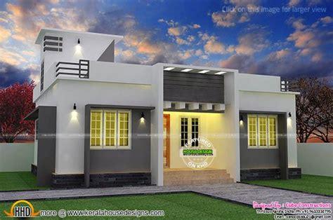 flat roof single floor home  stair room kerala home