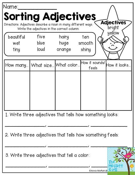 grade  nouns  adjectives worksheet schematic