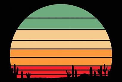 Sunset Cactus Desert Western Clipart Graphic Retro