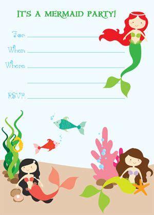 printable mermaid birthday invitations google